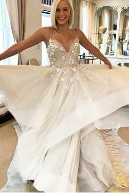 A-Line Spaghetti Straps Sweep Train Ivory Wedding Dress with Appliques,W3270