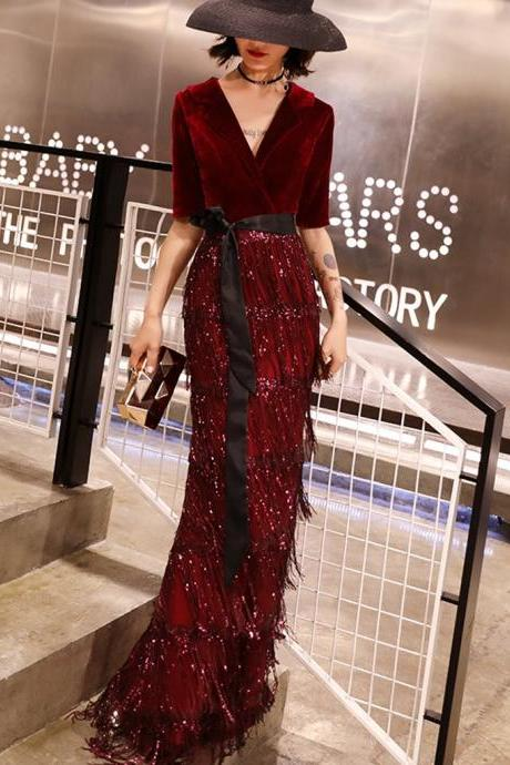 Burgundy Mermaid Beaded Half Sleeve Velvet V-neck Prom Dresses,3278