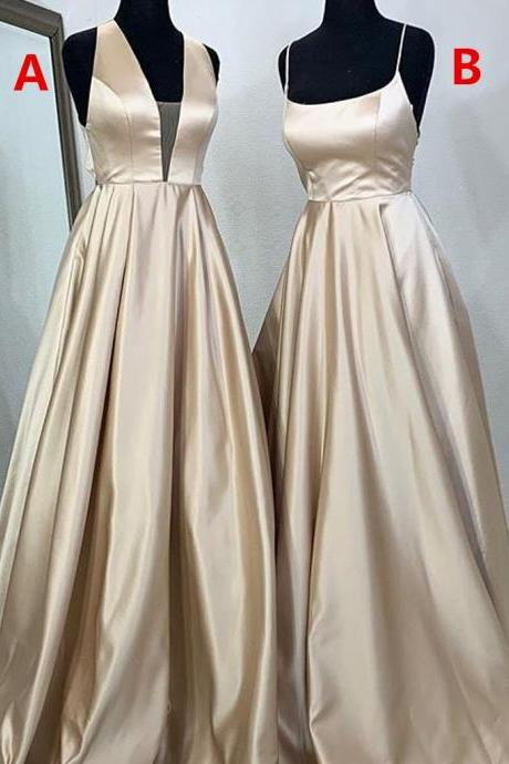 Different Styles A-Line Satin Backless Cheap Long Prom Dresses,P3279