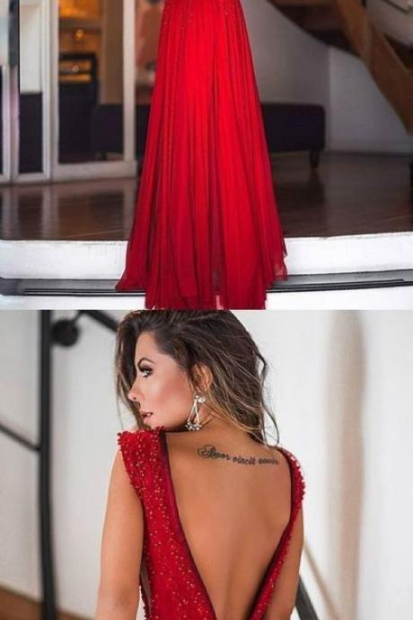 Red A-Line Backless Sexy Deep V-neck Beads Sleeveless Dress,Formal Dress,Party Dresses,Fashion Prom Dress ,P3301