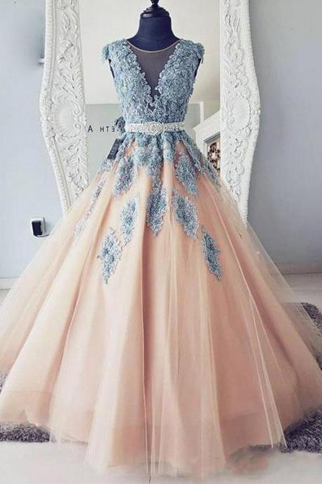 A-Line Cap Sleeves Lace Ball Gown Tulle Long Prom Dresses,P3325