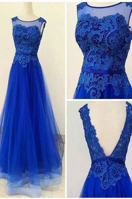 A Line V Back Lace Tulle Royal Blue Floor Length Evening Dress,P3341