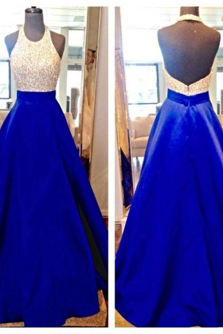 New Design Long Royal Blue Prom Dresses,Halter Beading Charming Prom Gowns,Modest Evening Dresses,P3561