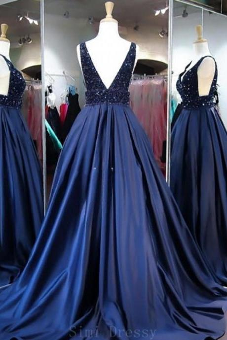 Two Piece Deep V Neck Slit Grey Chiffon Prom Dressses With Beading,P3589
