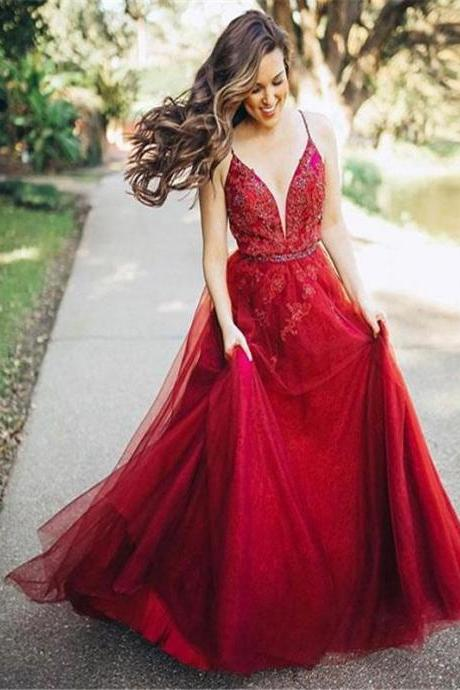 Spaghetti Red Lace Beaded Prom Dresses, Tulle Prom Dresses, Popular Prom Dresses, Prom Dresses, P3609