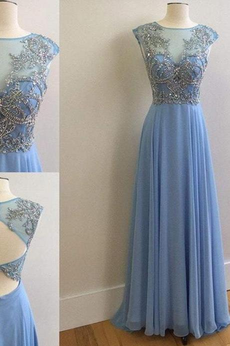 Elegant Round Neck Rhinestone Top Sheer Long Chiffon Prom Dresses,P3618