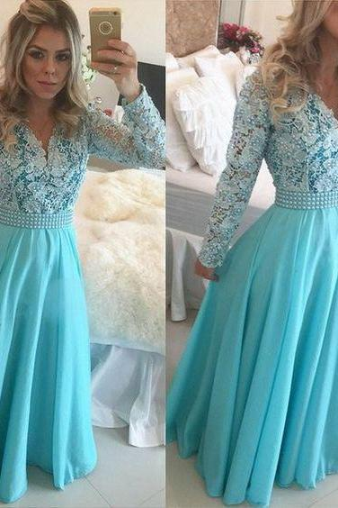 Long Blue Prom Dresses Modest Long Sleeve V Neck Pearls Lace Chiffon A Line Floor Length Hot Selling Party Gowns Custom Made ,P3626