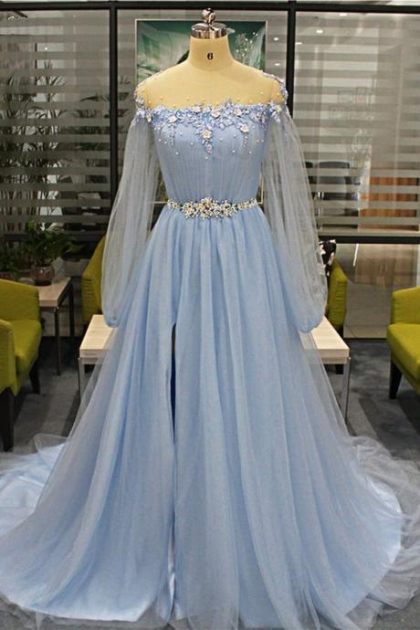 Baby Blue Tulle Long Beaded Sweet 16 Prom Dress With Sleeves, Slit Evening Dress,P3662