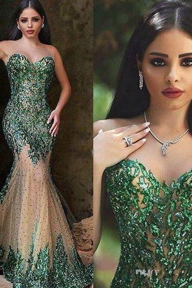 Arabic Style Emerald Green Mermaid Evening Dresses Sexy Sheer Crew Neck Hand Sequins Elegant Said Mhamad Long Prom Gowns Party Wear Mid Length Evening Dresses Modern Evening Dresses,P3669