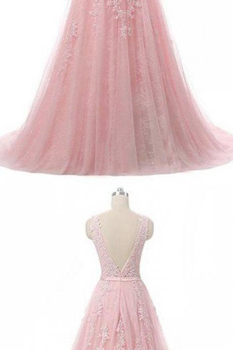Pretty tulle lace round neck A-line open back long prom dress,P3679