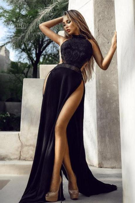 Black Halter Sexy Silt Backless Long Prom Dresses,P3705