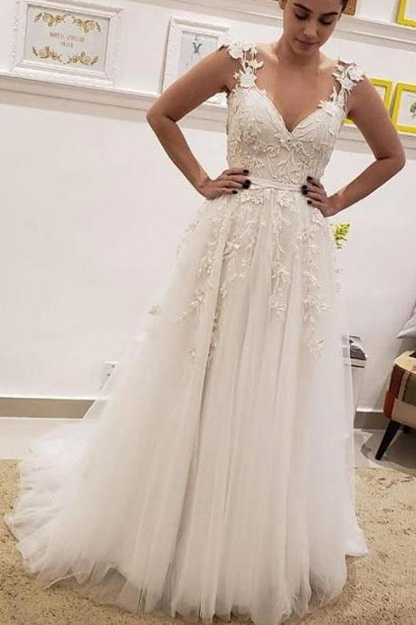 Simple Tulle Lace Illusion Back A-Line Wedding Dresses ,W3706