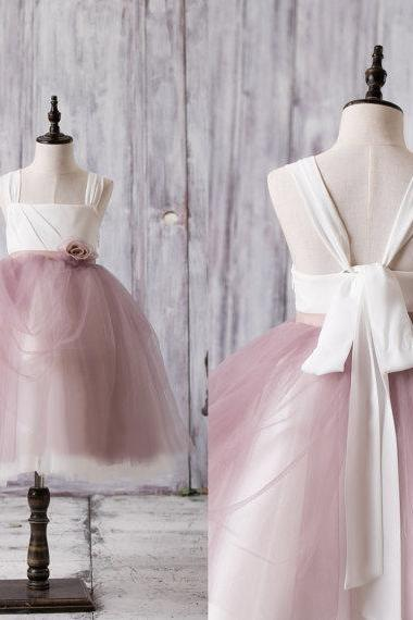 Newest Arrival Strap White Top Dusty Rose Tulle Cute Flower Girl Dresses,FG3707