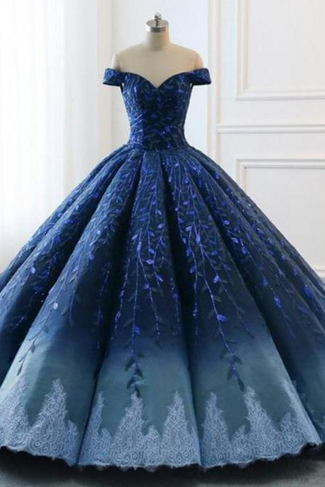 Navy Lace Applique Off Shoulder Ball Gown Princess Prom Dresses,P3709