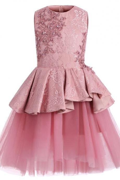 Pink Lace Tulle High Low Ruffles Cute Flower Girl Dresses ,FG3711