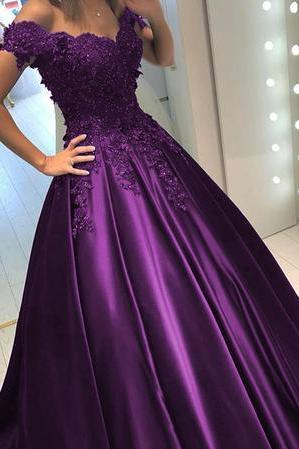 Lace Flower Off The Shoulder Satin Prom Dresses Ball Gowns,P3720