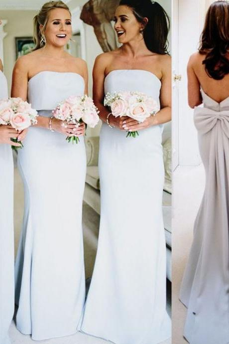 Elegant Mermaid Backless Bridesmaid Dress, Bridesmaid Dress with Bow-Knot,B3769
