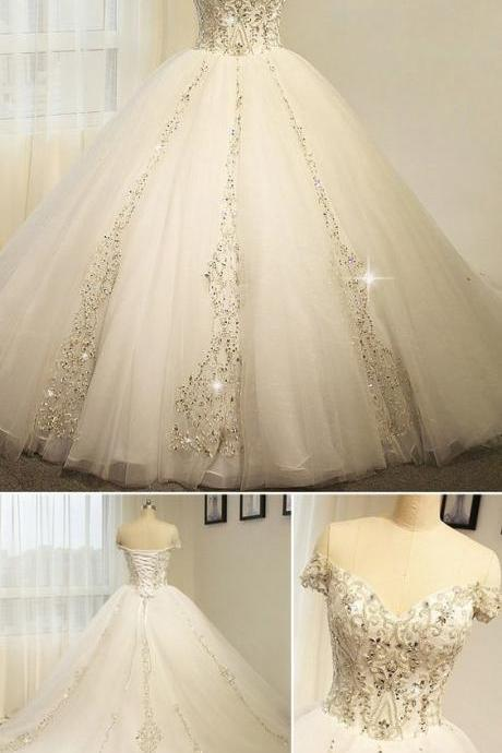 Tulle Off-the-shoulder Neckline Ball Gown Wedding Dress With Beaded Embroidery,W3784
