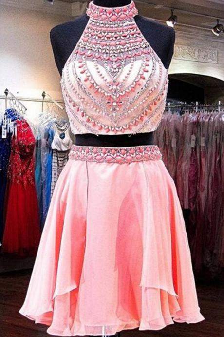 Cute Pink Sleeveless Chiffon Homecoming Dress,Appliqued Beaded Strapless Short Prom Dress ,h3792