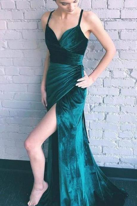 Teal Green Velvet Lace Up Back Side Slit Prom Dresses ,p3801