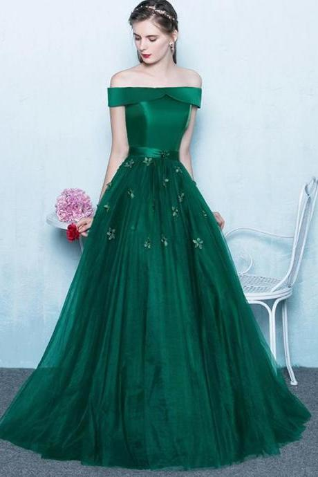 Green Off Shoulder Lace Up Back Appliques Party For Teens Prom Gown Dresses,p3805