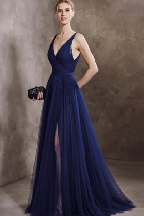 Generous A-Line party dress V-Neck Navy Blue Tulle Long Prom/Evening Dress with Beading,P3917