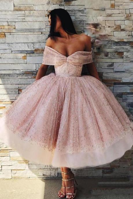 Off the Shoulder Sparkly Pink Tea Length Ball Gown Prom Dresses,H3959