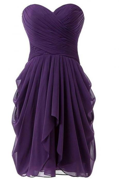 Short Knee Length Sweetheart Chiffon Pleats Bridesmaid Dress,B4089