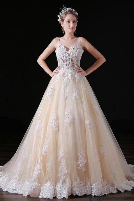 Champagne Tulle Appliques Spaghetti Straps Wedding Dress,W4094