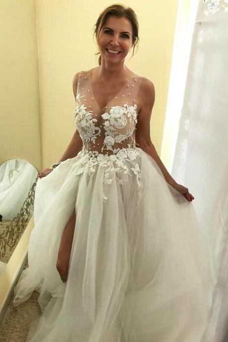 Sexy Sheer Corset Puffy Beach Wedding Dress with Slit and Long Train,W4102