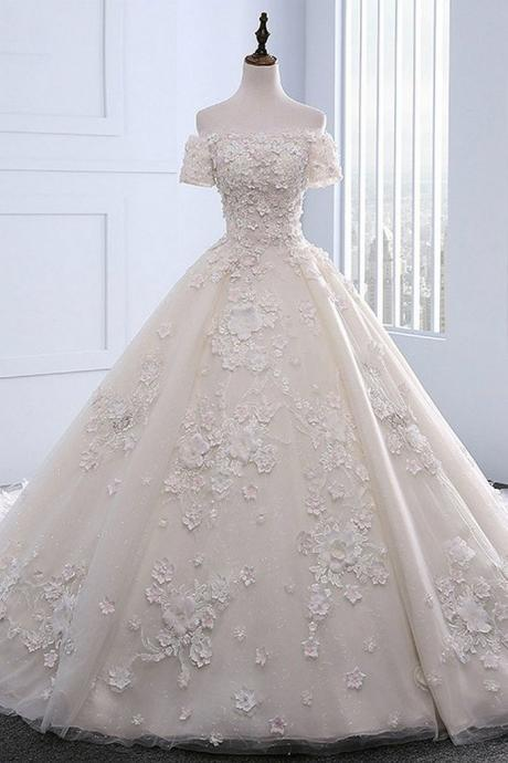 Ivory strapless sweep train off shoulder lace wedding dress with sleeves,W4154