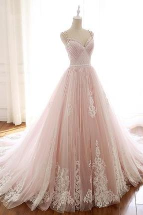Unique pink tulle v neck long halter evening dress, formal dress with applique,W5146