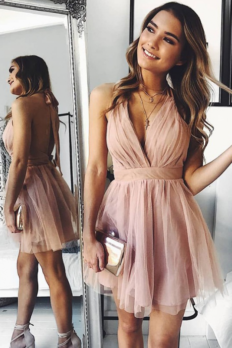 A Line V Neck Backless Pink Short Prom Homecoming Dress,H4175