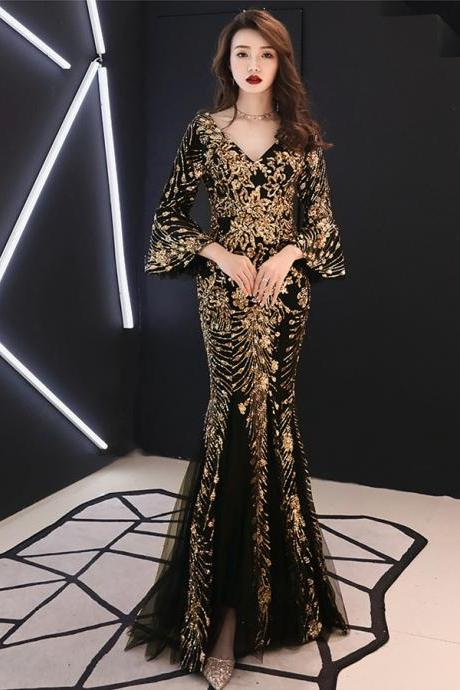 Gold Sequins Formal Evening Dress Gown with Sleeves Arabic Black Mermaid Brides Mother Dresses for Weddings Party Dress,P4184