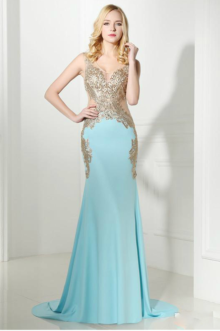 Blue Sleeveless Side Applique Lace Formal Evening Dress,P4195