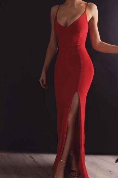 Red Long Prom Dress,Sexy Evening Dress With Ankle-length Split Strapless Party Dress,P4195
