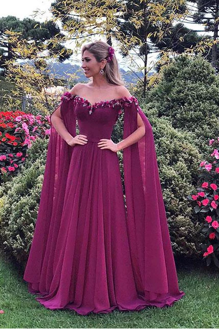 Long Sleeve Prom Dresses A-line Chic Prom Dress Long Evening Dress,P4211