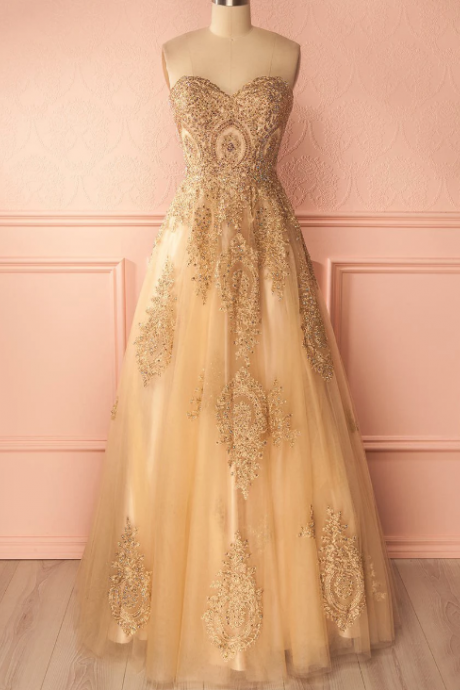 Beautiful Prom Dresses A-line Sweetheart Gold Lace-up Prom Dress/Evening Dress,P4213