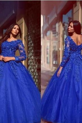 Glamorous vestidos Prom Dress,Royal Blue Ball Gown Quinceanera Dresses,Flowers Appliqued Floor Length Prom Dresses,Lace Up Long Sleeves Prom Evening Gowns,P4220