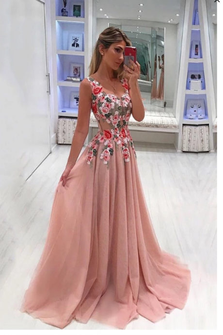 Beautiful Embroidery Appliques Long A-line Pink Prom Dresses,P4225