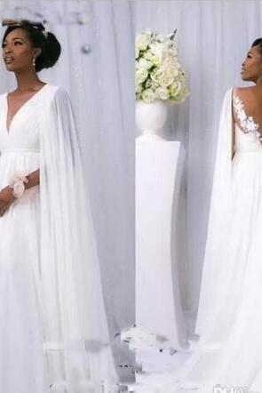 Summer Wedding Dresses,Beach Wedding Dresses,African V-Neck Backless Appliques Wedding Dresses With Wraps,W4226