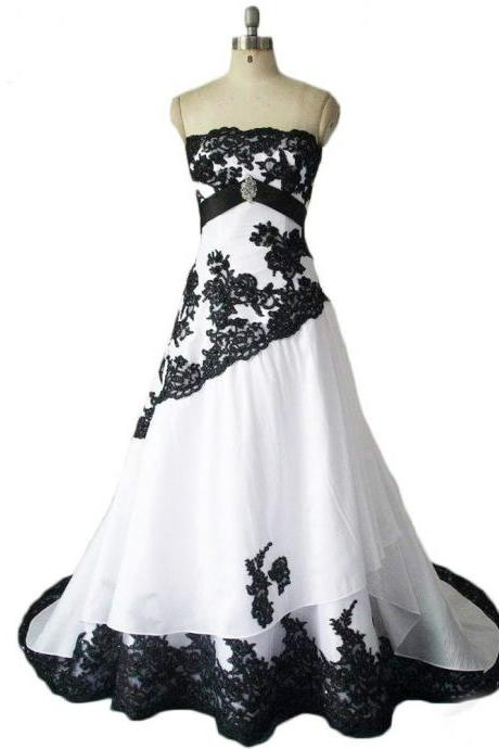 Wedding Dresses Black And White Real Photos Strapless Lace Appliques Lace Up Back Long Bridal Gowns Custom Made,W4230