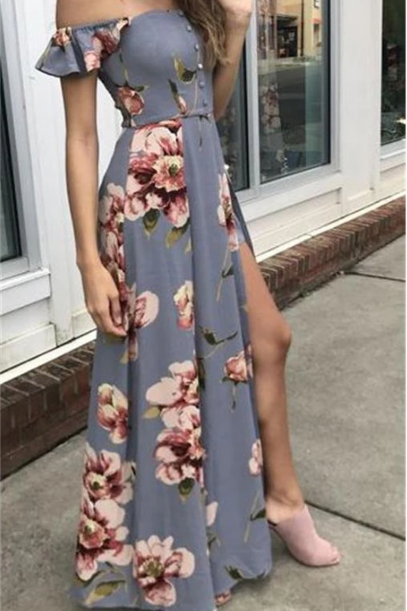 Pretty Off The Shoulder Simple Cheap Flower Pattern Prom Dresses,P4233