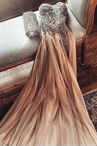 Pretty A-line Strapless Ruching Beading Long Sexy Prom Dress,P4235