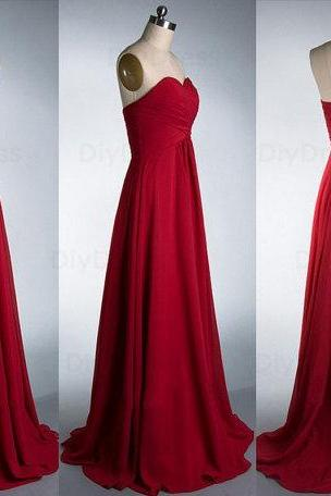 Elegant A Line Floor Length Burgundy Chiffon Bridesmaid Dresses,Sweetheart Dark Red Long Bridesmaid Dress,Cheap Graduation Dress Evening Prom Dress,B3304