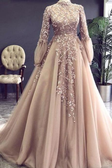 Champagne prom dress, high neck prom dress, vintage prom dress, beaded prom dress, lace applique prom dress, robe de soiree, elegant prom dress, prom dresses 2020, vestido de festa,P3313