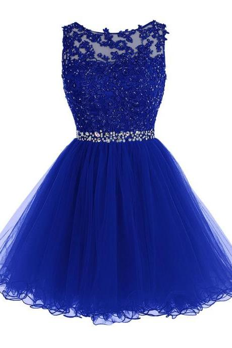 Royal Blue Keyhole Back Cocktail Dress, Party Dress With Lace Appliques Bodice,H3344