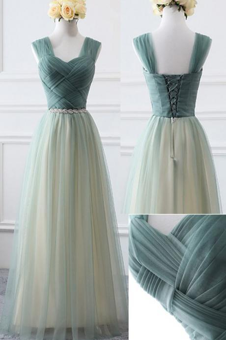 Green Tulle Charming Bridesmaid Dress, Lovely Party Dress 2019, Formal Dress,P3366