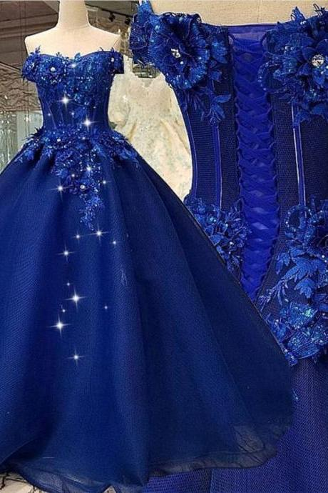 Off the Shoulder Prom Dress, Ball Gown Prom Dress, Royal Blue Prom Dress, Prom Dresses 2020, Lace Applique Prom Dress, Elegant Prom Dress, Prom Ball Gown, 2021 prom dresses,P3392