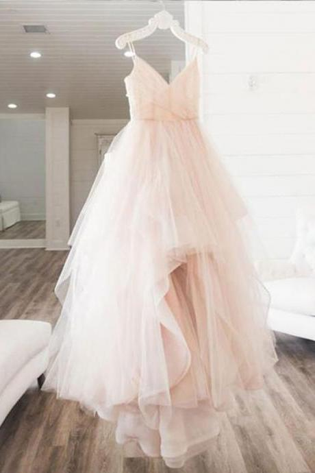 P3472 Blush pink tulle V neck long prom dress, long 2021 evening dress